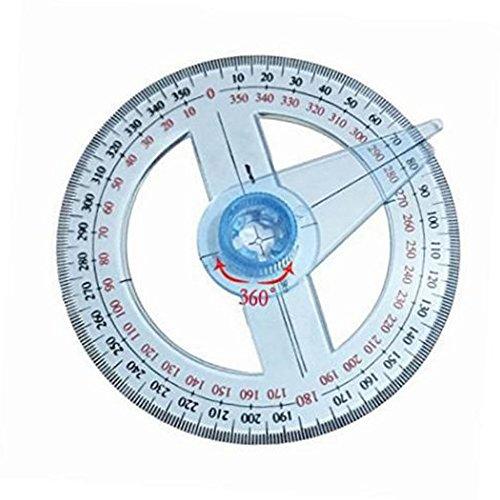 GEZICHTA Kunststoff Winkelmesser 360Grad Rund Lineal Gauge Eckig für Schule Büro Supplies
