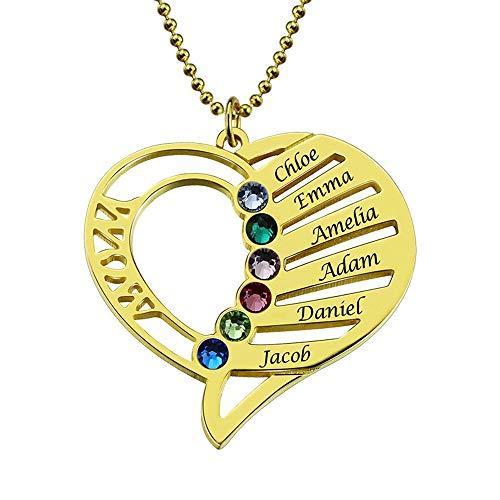Namenskette Herz 925 Sterling Silber mit 6 Namen und Geburtsstein, Silber/Rosegold/Gold individuelle Kette Herzanhänger mit Gravur (Gold,45cm)