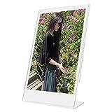 """Woodmin 4x6 Pouces Clear Acrylic """"L"""" Frame Vertical Slant Cadre Photo de Fujifilm Instax Mini Films, Inscrire les Porteurs (1 pièce)"""