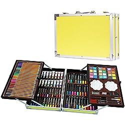 Maletín para colorear de 200 piezas para niños con ceras pastel al óleo,crayones de cera, lápices de colores, acuarelas, rotuladores de colores, pinturas al òleo Amarilo