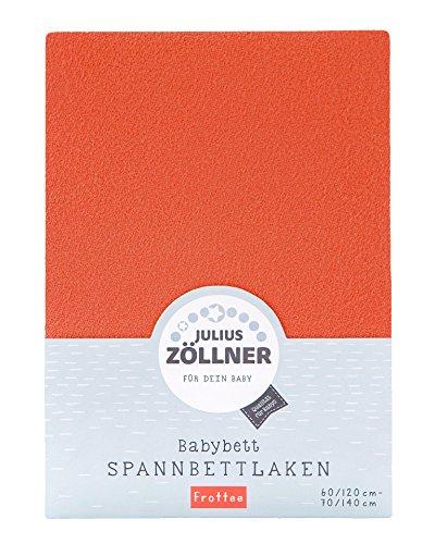 Julius Zöllner 8300149740 - Spannbetttuch Frottee für Kinderbett, Größe: 60x120 cm / 70x140 cm, Farbe: koralle