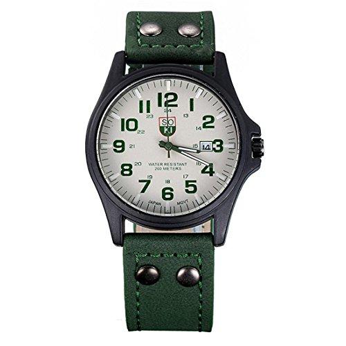 Valentinstag Uhren Dellin Vintage Classic Herren wasserdicht Datum Lederband Sport Quarz Army Watch (Grün)