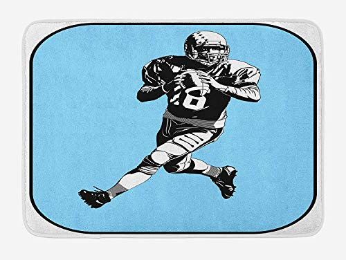 ZKHTO Sports Bath Mat, American Football League Game Rugby Player Run Original Retro Illustration, Plush Bathroom Decor Mat with Non Slip Backing, 23.6 W X 15.7 W Inches, Blue Black White -