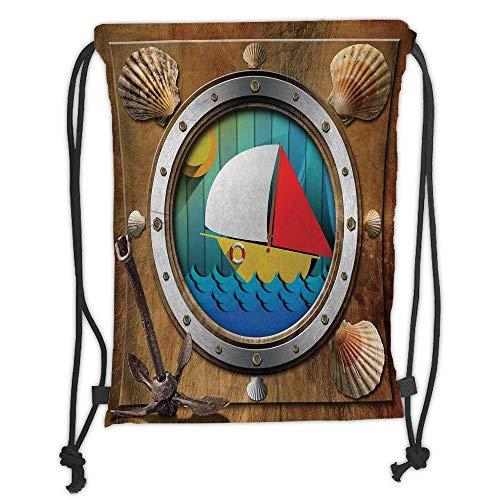 Trsdshorts Drawstring Backpacks Bags,Anchor,Metallic Porthole with Bolts Seashells Rusty Anchor and Boat Journey Voyage Activity,Multicolor Soft Satin,5 Liter Capacity,Adjustable String Closu -