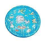 ✮TUDUZ✮ Splash Spielmatte Outdoor Garten Wasserspielzeug Splash Pad Babypool Sprinkle Spaß Wassermatte Familienaktivitäten für Kinder, Hund (100 cm, Blau)
