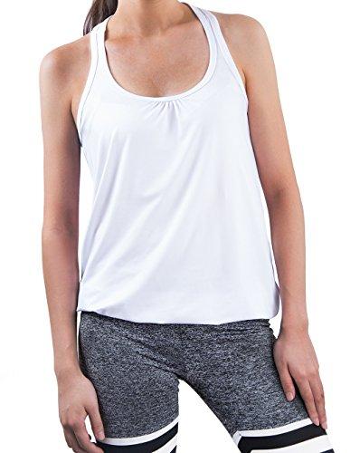 iPretty Femme Débardeur Running Sans Manche Sport T Shirt Tank Top Blanc