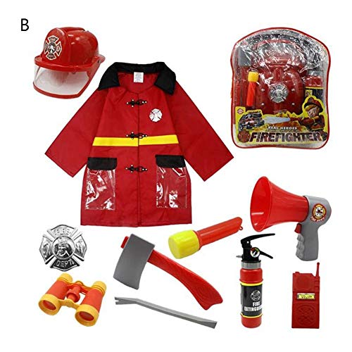 funnyfeng Fire Chief Rollenspiel Kostüm Kids Dress-Up Kind Rollenspiel Requisiten 11PCS gehören Helm, Feueraxt, Feuerlöscher, Kostüm-Sets für 6 Jahre alte Kinder eco Friendly (Fire Chief Kostüm)