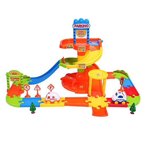 Smibie Aparcamiento de Juguete Garage Infantil con 3 Plantas de Madera Juguete de Construcción con Helipuerto, Estación de Servicio, Lavado de Coches y Estación de Peaje de Autopista para Niños (Tipo 2)