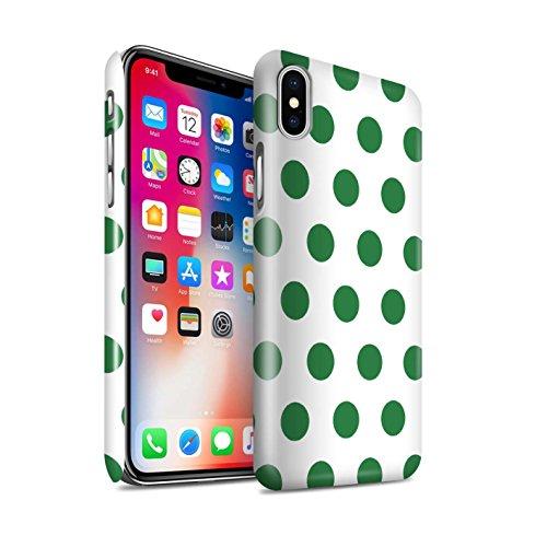STUFF4 Glanz Snap-On Hülle / Case für Apple iPhone X/10 / Dunkelrosa Muster / Dotty Punktmuster Kollektion Smaragd