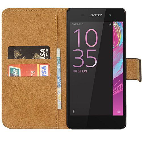 Ambaiyi Flip Echt Ledertasche Handyhülle Brieftasche Hülle Schutzhülle für Sony Xperia E5 Hülle , schwarz