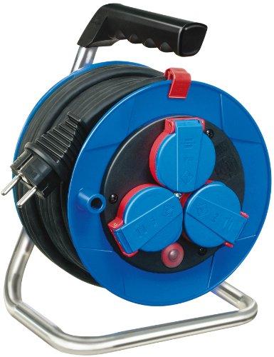 Brennenstuhl Garant Kompakt IP44 Kabeltrommel (15m - Spezialkunststoff, kurzfristiger Einsatz im Außenbereich, Made In Germany) blau