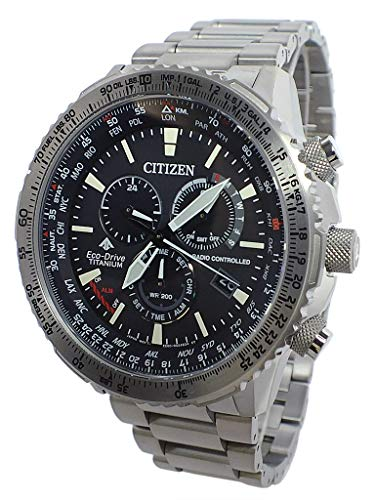 Citizen Eco-Drive Radio Controlled Uhr Herren Titan 20 bar Analog Chrono Datum Grau