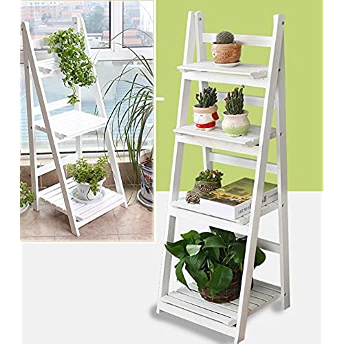 MultiWare 4 Tier Ladder Bookshelf Bookcase Leaning Storage Shelf Unit White