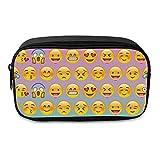 Fringoo® Estuche de lápices grande para niñas y niños, accesorio organizador divertido y bonito, caja con bolsillos, color Emoji Yellow Ombre - Front Large
