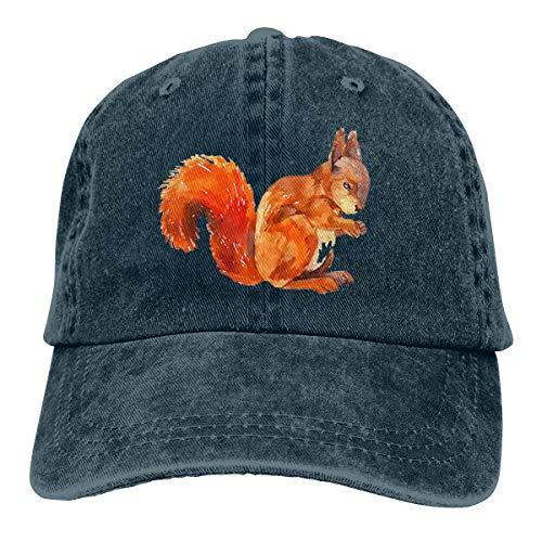 Wfispiy Sketch Squirrel Verstellbare Gewaschene Vintage Baseballmützen Trucker Hat