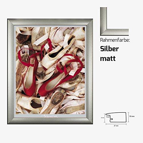 Kunstdruck EDWARDS - Satin Shoes Balettschuhe Schuhe 40 x 50 cm mit MDF-Bilderrahmen & Acrylglas reflexfrei, viele Farben zur Auswahl, hier Silber matt