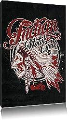 Dark Indian motorcycle-Club black Bild auf Leinwand, XXL riesige Bilder fertig gerahmt mit Keilrahmen, Kunstdruck auf Wandbild mit Rahmen, günstiger als Gemälde oder Ölbild, kein Poster oder Plakat, Format:120x80 cm