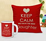 TiedRibbons Gifts For Daughter Cushion(12 inch X 12 inch) with Coffee Mug(300ml,Ceramic)