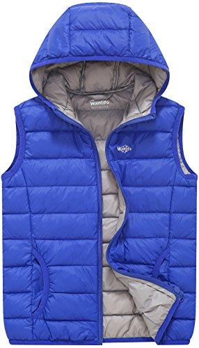 Wantdo Jungen und Mädchen Packable Puffer Daunenweste mit Kapuze Leichte ärmellose Jacke Saphir Blau 128-134