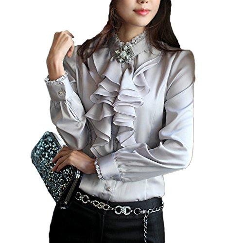 Nonbrand - Camicia - Basic - Con bottoni  -  donna Grey