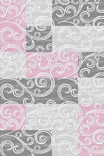 KADIMA DESIGN KLASSISCHER MODERNER Teppich Toscana 3130, rosa, 160 X 230 cm - Viskose-teppich