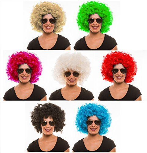 280g XXL AFRO PERÜCKE Lockenkopf WIG Black Afroperücke Lockenperücke Fasching Karneval schwarz, weiß, blond, rot, türkis, grün, pink (Rot)