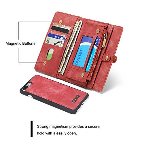 """iPhone 7 Plus Brieftasche Fall, CaseMe Multifunktionale Geldbörse Flip Cover mit Reißverschluss großes Fach, Ständer, Karte, echtes Leder Magnetische Schutzhülle für iPhone 7Plus 5.5"""" (Schwarz) rot"""