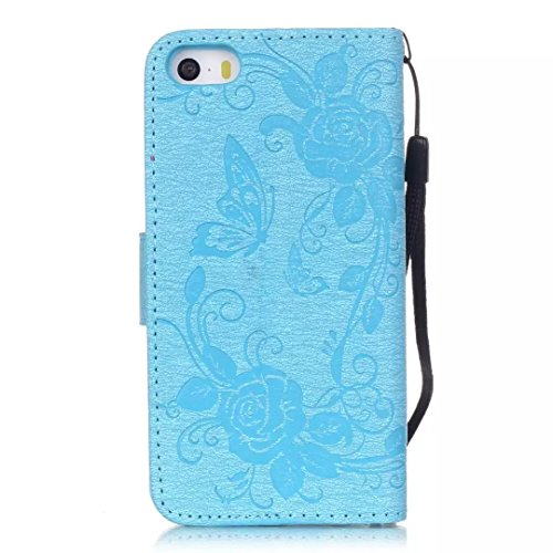 iPhone Case Cover Peint de couleur motif portefeuille style cas magnétique conception flip folio PU Housse en cuir couvrir cas standup pour iPhone 5S SE ( Color : Pink , Size : IPhone 5S SE ) Blue