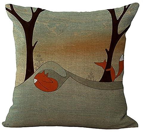 Fox Cartoon Cushion Cover ChezMax Cotton Linen Throw Pillow Case