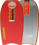 Tabla de bodyboard de Alder Assault, de 112 cm, núcleo de EPS, con crescent tail, canales 60/40 y slick de HDPE, rojo