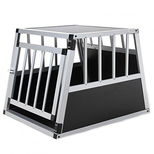 Jalano Hundebox aus Aluminium für den Transport kleiner Hunde Auto Gitterbox mit geneigter Rückseite für PKW Kofferraum