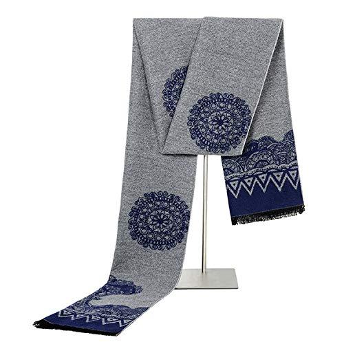 Blisfille Bufanda Scamander Bufandas Hombre Vestir Bufandas para Mujer de Cachemira Bufanda Regalo Patrón Retro del Árbol de la Vida,Gris