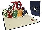 LIN POP UP 3D Glückwunschkarte Geburtstagskarte 70. Geburtstag 70 Jahre, blau (Nr.25)
