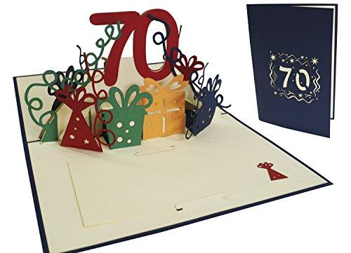 LIN - 3D POP UP carte de voeux joyeux anniversaire Carte anniversaire âges70 ans ( Nr. 25)