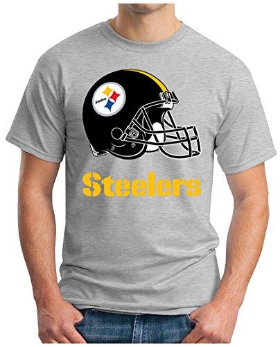OM3 Pittsburgh Steelers - T-Shirt   Herren   American Football Shirt   Super Bowl 52 LII   NFL   S - 5XL Grau Meliert