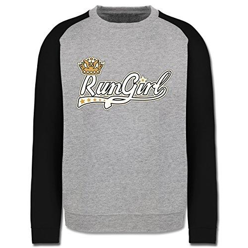 Laufsport - Run Girl Krone - Herren Baseball Pullover Grau Meliert/Schwarz