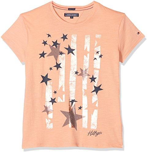 Tommy Hilfiger Mädchen Bright Stars Tee S/S T-Shirt, Orange (Papaya Punch 609), 110 (Herstellergröße: 5) - 110 Punch
