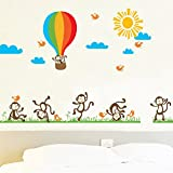 PeiTrade 140cm Big Naughty Monkey Hot Air Balloon Wall Sticker Wall Sticker Art Decal Home Room Decor Office Wall Mural Wallpaper Art Sticker Decal Paper Mural for Home Bedroom