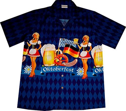 """Chemise Hawaienne Homme """"Oktoberfest"""" / taille M – 6XL / bleu / 100% coton Bleu"""