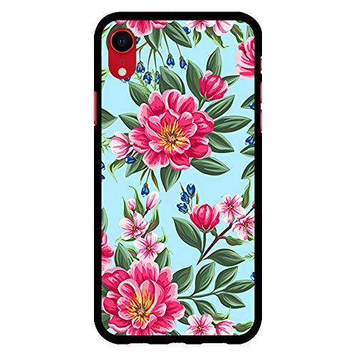 BJJ SHOP Schwarz Hülle für [ iPhone XR ], Klar Flexible Silikonhülle, Design: Rosa Blumen auf blauem Hintergrund