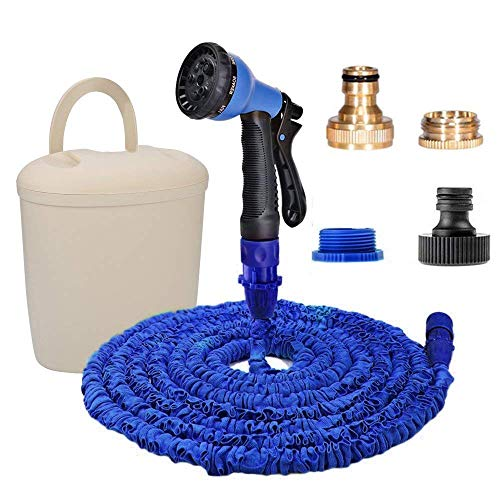 eujiancai 100FT Garden Hose Expandable Water Pipe Hoses 30M with 8 Patterns Spray Gun + Brass Garden Hose Fittings & Holder Bucket (100FT+BL+Bucket) Plastic Inner Bucket