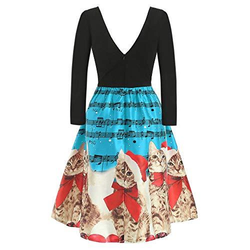 Weihnachtskleid Damen Partykleid Langarm Weihnachten Katzen Drucken Kleider Christmas Winter V-Ausschnitt Minikleid Rock Abendgesellschaft Kleid(Himmelblau,XL)