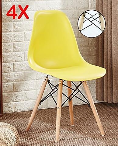 P & N Homewares® Set von 4Romano DS Moda Stuhl Kunststoff Retro Esszimmer Stühle weiß schwarz grau rot gelb pink grün blau gelb