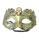 Cikuso Mascara de Esqueleto Calavera de Miedo Fantasma Mascara de craneo de Colmillos Antiguos Fiesta de Cosplay de Halloween (Oro)
