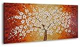YS-Art Quadro Dipinto con Colori acrilici Albero Fortunato | 120x60cm|Muro| Mano | Arte Moderna |...