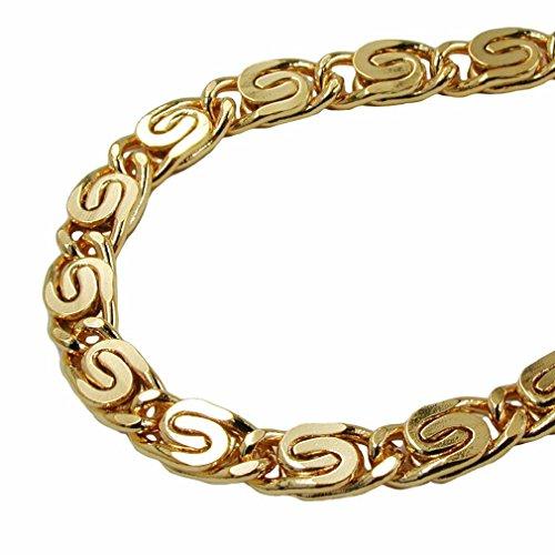 Unbespielt Modeschmuck Halskette Kette S Panzerkette Damen vergoldet Double Verschiedene Längen Breite 3,5 mm Tiefe 1,4 mm, Kettenlänge:70 cm