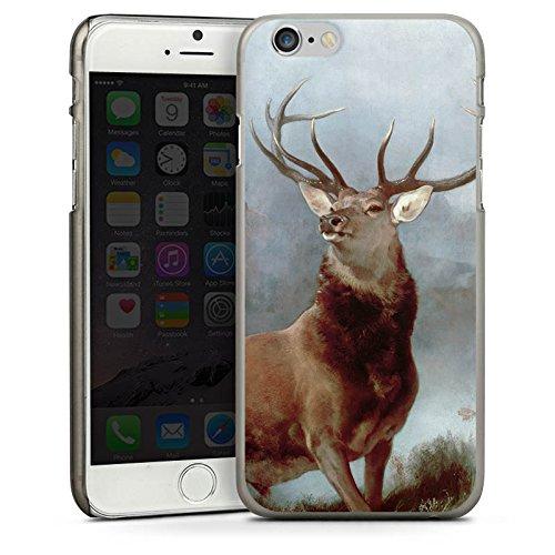 Apple iPhone 4 Housse Étui Silicone Coque Protection Cerf Forêt Nature CasDur anthracite clair