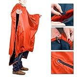 Outdoor Multifunktions Poncho Regenponcho Regencape Regenmantel Wende-Decke Wasserabweisend mit Fleece Innenseite , Orange