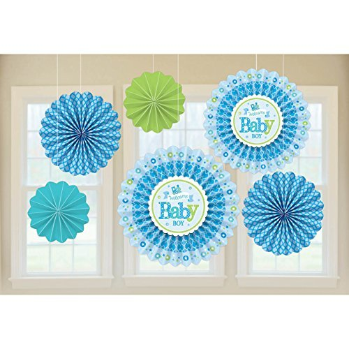 Amscan 291461 Welcome Baby Boy Papier Fan Dekorationen