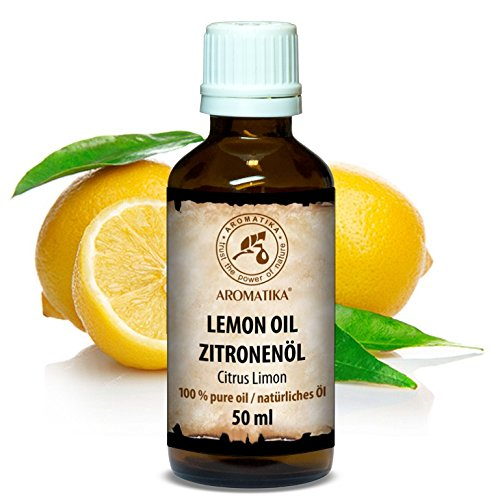Zitronenöl, 100 % naturreines ätherisches Zitronenöl 50ml, Italien - Zitronen Öl für guten Schlaf - Beauty - Stressabbau - Baden - Körperpflege - Wellness - Schönheit - Aromatherapie - Entspannung - Massage - SPA - Aroma diffuser - Duftlampe - Raumduft - Kosmetik, Glasflasche, atherisches Zitronenöl von AROMATIKA